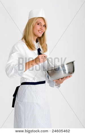female chef with dish