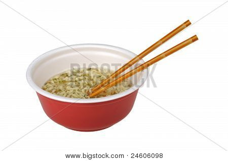 Bowl Of Ramen With Chopsticks Isolated On White Background
