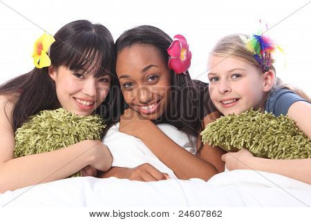 Teenage Girls Flowers In Hair At Sleepover Party