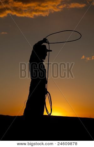 Cowboy Silhouette Twirl Rope