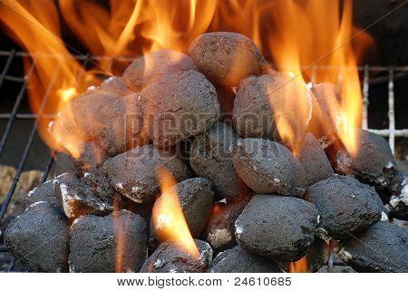closeup charcoal barbecue briquettes
