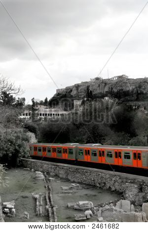 Athens, Greece - Metro And Acropolis