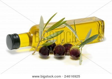 Bottle Of Olive Oil And Fresh Olives