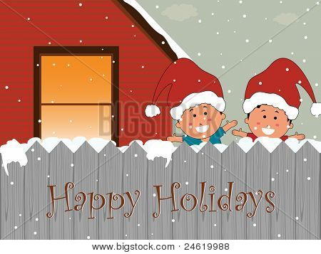 cute kid & house theme vector for happy holidays