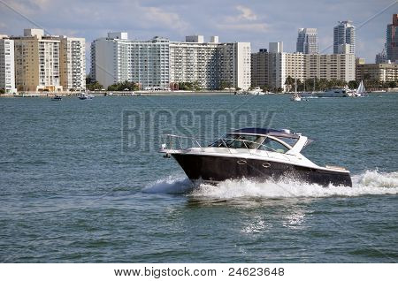 Black and White Motor Boat