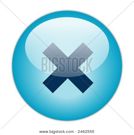 The Glassy Aqua Blue Cross Icon Button