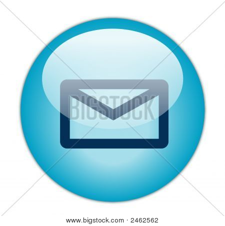 The Glassy Aqua Blue Email Icon Button