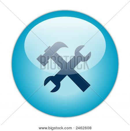 The Glassy Aqua Blue Tools Icon Button