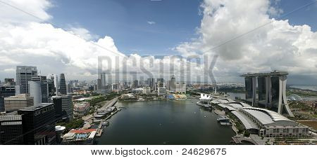 Singapore Marina Bay Panorama Aerial View