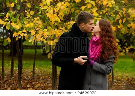 Young Love Couple Kissing