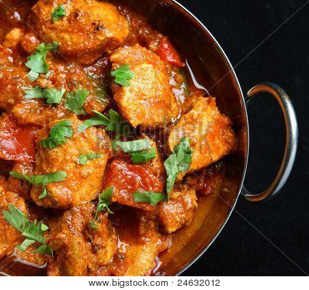 Indian chicken jalfrezi curry in balti dish