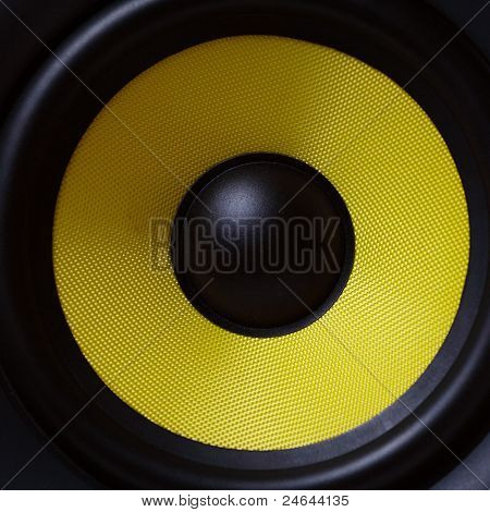 Part of yellow modern subwoofer
