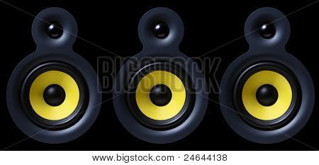 Sound system with yellow subwoofer isolated on black