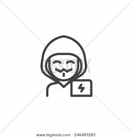 Hacker Man Outline Icon  Linear Style Sign For Mobile Concept And Web  Design  Masked Anonymous Guy I poster