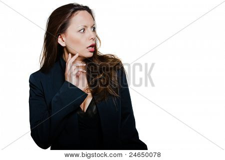 Portrait of beautiful expressive distraught Asian woman looking away in studio isolated on white background
