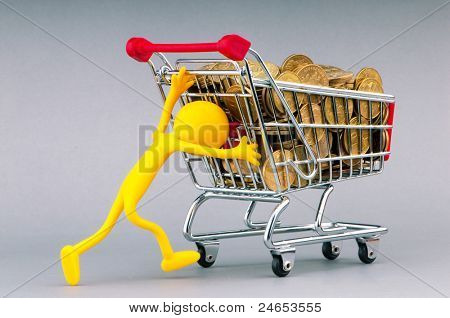 Smilies with shopping carts and coins