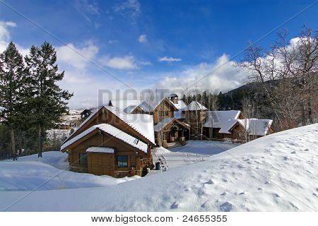 Large Houses In Winter Mountains