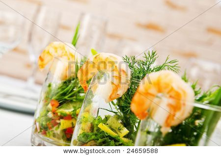 Prawns served in glasses