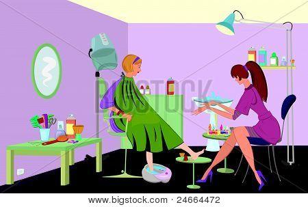 Salón de belleza cliente está recibiendo pedicura