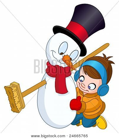 Boy Making Snowman