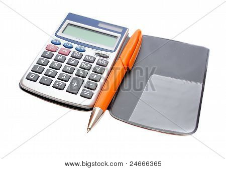 Calculator And Orange Pen