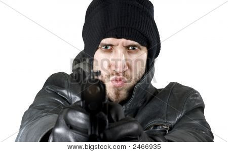 Undercover Agent Firing Gun In The Camera
