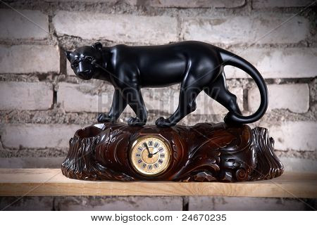 Vintage Wooden Carved Clock With Figurine Of Panther