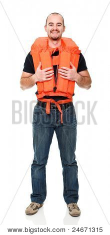 man with Personal flotation device