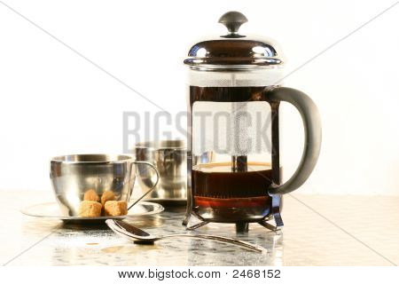 Coffee Cups With French Press