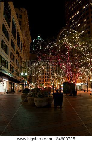 Downtown Seattle, Wa With Christmas Lights At Night