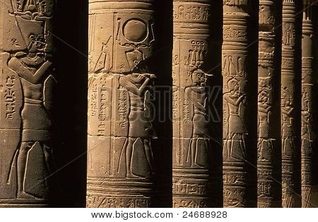 Shadow Column Reliefs, Temple of Philae, Egypt