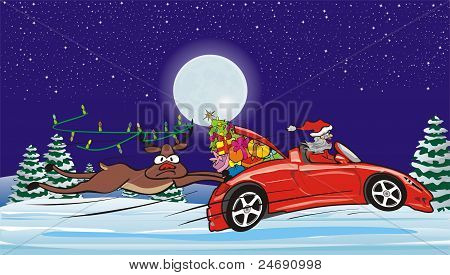 crazy santa in convertible and surprised reindeer