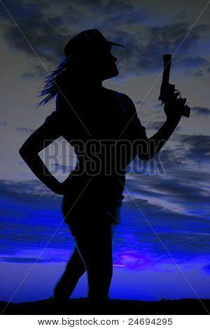 Silhouette Gun Woman Pose