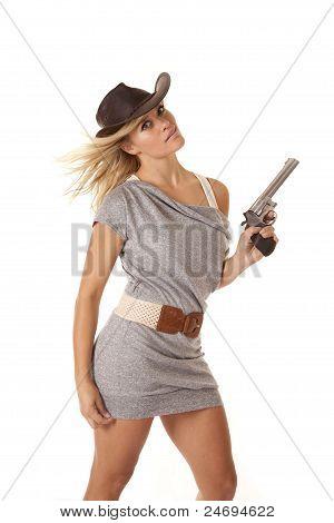 Woman Gun Blown Smile