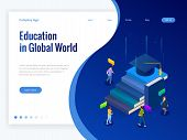 Isometric Education In Global World. Books Step Education. Online Education Concept. Online Training poster