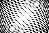 Black And White Wavy Halftone Pattern. Background With Points, Dots, Circles. Futuristic Twisted Pan poster