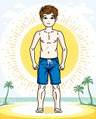 Little Boy Cute Child Standing Wearing Fashionable Beach Shorts. Vector Attractive Kid Illustration. poster