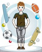 Cute Happy Young Teen Boy Posing Wearing Casual Clothes. Vector Character. Fashion Theme Clipart. poster