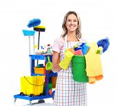 foto of janitor  - Cleaner maid woman with janitor cart - JPG