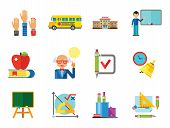 School Icon Set. School Pencil School Bus Pencil Stand Stationery Math Formula Knowledge Vitruvian M poster