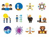 Strategy Icon Set. Team Structure Common Idea Director Executive Manager Rich Person Team Time Manag poster