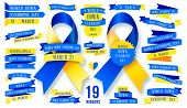 Big Set Of Ribbon For World Down Syndrome Day. Awareness Ribbon. poster