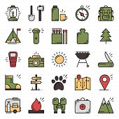 Hiking And Camping Line Icons Set. Outdoor Camp Sign And Symbol. Backpacking Adventure. Camping Stuf poster