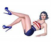 3d Beautiful Young Attractive Pin Up Girl Vintage.shorts And Bra.woman Studio Photography.high Heel. poster