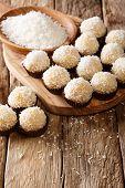 Homemade Brazilian Sweets Beijinhos De Coco With Condensed Milk Close-up. Vertical poster