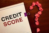 Conceptual Hand Writing Showing Credit Score. Business Photo Showcasing Capacity To Repay A Loan Cre poster