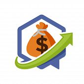 illustration icon with directional communication media concept of financial information solutions.