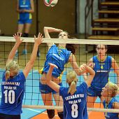 KAPOSVAR, HUNGARY - OCTOBER 2: Zsofia Harmath (in the top) in action at a Hungarian NB I. volleyball