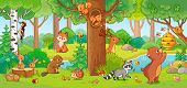 Vector Illustration With Cute Forest Animals. poster