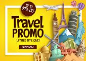 Travel Promo Vector Banner Template With Discount Text And Famous Tourist Landmarks Elements In A Fr poster